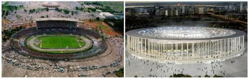 Estádio Mané Garrincha, em Brasília, antes e depois da reforma de quase R$ 1 bilhão prevista para terminar em abril